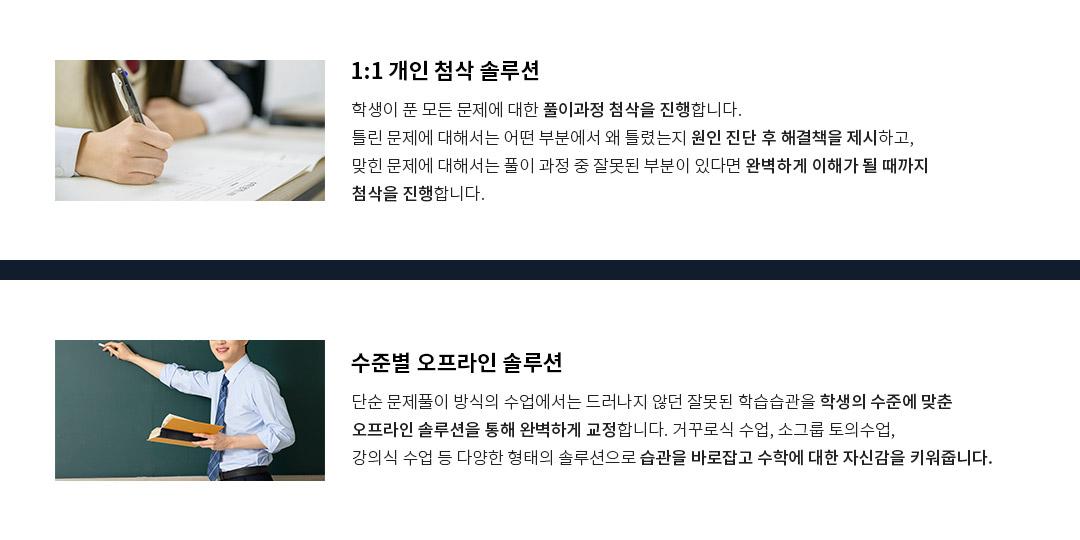 1:1 개인 첨삭 솔루션/수준별 오프라인 솔루션